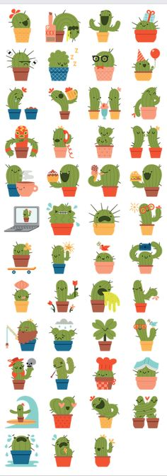 Stickers are a unique way of sharing your expressions and feelings while… Stickers Kawaii, Cactus Stickers, Diy Stickers, Printable Stickers, Planner Stickers, Smileys, Doodles, Cactus Art, Cactus Doodle