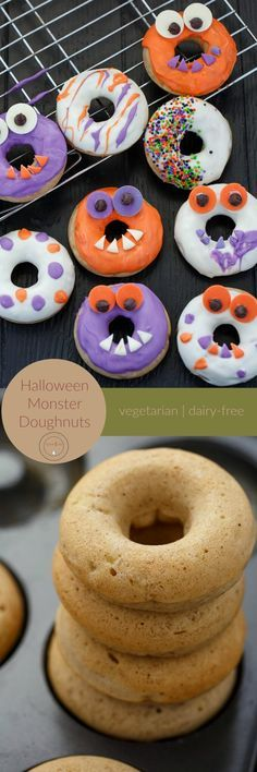 Halloween Monster Doughnuts | http://thecookiewriter.com | @thecookiewriter | #doughnuts #Halloween | Fun and easy, these monster doughnuts are made with very few ingredients, and are decorated using candy melts!