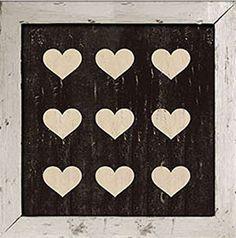 9 Hearts Wood Sign