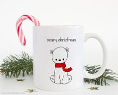 Christmas Mug Gift For Friend Funny Polar Bear Merry Beary Christmas Pun Her Him Coffee Mugs Happy Holidays Holiday Gifts Cute Fun Kawaii  Beary Christmas...a fun gift for a friend, sister, brother, the polar bear and pun lovers in your life, really anyone on your holiday list! Send this cute polar bear mug and spread some smiles this holiday season! He also makes a fun treat for yourself, a sweet addition to any daily coffee routine!  Design is printed on both the front and back so its…