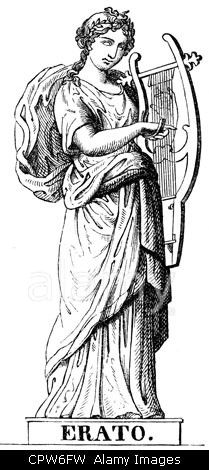 Muses, protectresses of the fine arts in the Greek mythology, Erato, Muse of erotic poetry, wood engraving, 19th century.