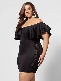 Plus Size Drama Ruffle Bodycon Dress in Black Size 0 - Fashion to Figure Curvy Women Fashion, Plus Size Fashion, Womens Fashion, Plus Size Dresses, Plus Size Outfits, Plus Size Summer Outfit, Cheap Cocktail Dresses, Wedding Dress With Pockets, Looks Plus Size