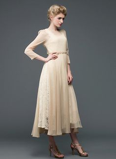 Champagne Lace Chiffon Maxi Dress with Square Neck and Back RM596 – RobePlus