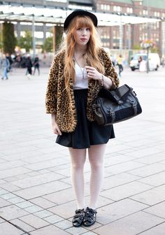"""""""I'm wearing my grandmother's old hat, a H&M fake fur, a self-made skirt and Minna Parikka shoes.Keeping warm and slightly corny things (like my leopard jacket) inspire my style.I think Karen Gillan has a nice style."""""""