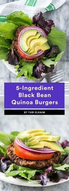 8. 5-Ingredient Black Bean Quinoa Burgers #greatist https://greatist.com/eat/meal-prep-lunch-ideas-with-5-ingredients