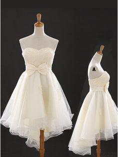 Elegant A-line Sweetheart High-low Tulle Bow knot Homecoming Dress Prom Dresses #simibridal #hoemcomingdresses