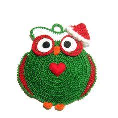Green Christmas owl potholder - Crochet | Only Italian Items