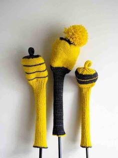 Protège-clubs de golf tricotés : modèle traduit en français d'après le tuto original de Purl bee