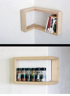 Corner shelf, reversible