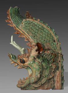 Roof-ridge ornamentYuan dynasty (1271-1368)glazed pottery, ca. 74 in. tallChunyangdian, Yonglegong, Shanxi ProvinceShanxi Provincial Museum