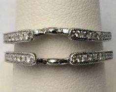 14kt White Gold Jacket Vintage Cathedral Ring Wrap Diamonds Guard Solitaire Enhancer (0.35ct. tw)...(RG331489863690).! Price: $1322.99 #14kt #gold #diamonds #ringguard #wrap #enhancer #fashion #jewelry #love #gift