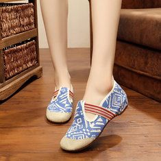 b027a6664ee Hot-sale Flower Embroidered Old Peking Color Match Strappy Flat Shoes -  NewChic Mobile Loafer