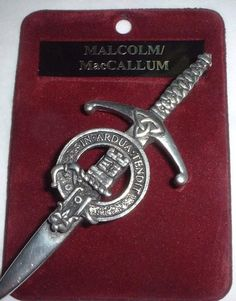 This pewter broadsword style kilt pin has an antique palladium finish and comes in a...