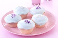 Glace-iced cupcakes with sugared violets main image Pretty Cupcakes, Mini Cupcakes, Cupcake Cakes, Cup Cakes, Cupcake Recipes, Dessert Recipes, Desserts, Cupcake Ideas, Glace Icing