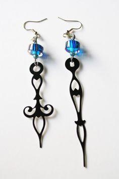 Steampunk Clock Hand Earrings - Cosmic Blue