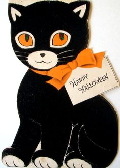 vintage black cat halloween greetings card