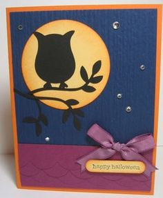 Night Owl Silhouette by Angie Leach - Cards and Paper Crafts at Splitcoaststampers Owl Punch Cards, Owl Silhouette, Card Making Designs, Owl Card, Cricut Cards, Bird Cards, Stamping Up Cards, Scrapbook Cards, Scrapbooking