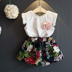 Girls Clothing Sets New Kids Clothing Sets Sleeveless T-shirt+Printing Shorts for Girls Suits