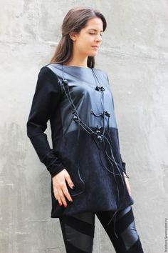 """Купить Комбинированный топ """" Leather"""" B0047 - мода2015, дизайнерский топ, Яркая одежда"""