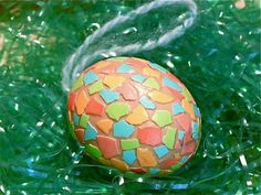Easter Eggs Decorated with Recycled Kool-Aid Colored Egg Shells and Mod Podge and How to Make Cascarones!