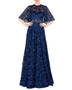 5699e0d0901 Crewneck Illusion Cape-Sleeve Gown by Mac Duggal at Neiman Marcus
