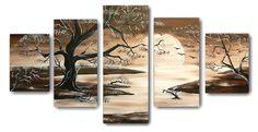 Schilderijen van bloemen en planten � Schilderij Sunset Tree 3