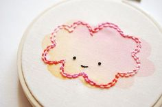 How to use watercoloring with embroidery - step by step instructions and photos. Too Cute!