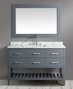 54 inch Transitional Single Bathroom Vanity Set Grey Finish with White Carrera Marble Top