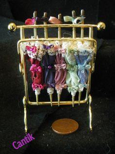 12th Scale Hand-Made Miniature PARASOL DISPLAY WITH 5 Assorted PARASOLS