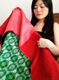 Fire engine red and emerald green  quilted, patchwork throws made from upcycled vintage saris and hand woven textiles in silk and cotton