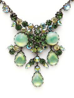 House of Lavande Multi-Cut Green Crystal Cluster Bib Necklace