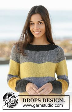 Bee stripes / DROPS - free knitting patterns by DROPS design crochet Drops Design, Sweater Knitting Patterns, Free Knitting, Crochet Patterns, Jumpers For Women, Cardigans For Women, How To Start Knitting, Pulls, Long Sleeve Sweater