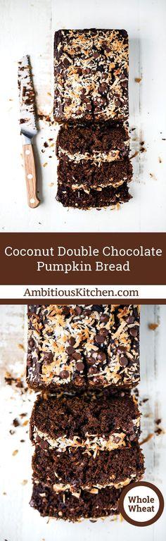 Coconut Double Chocolate Pumpkin Bread recipe from @moniquevolz