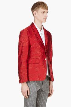 THOM BROWNE Red Jacquard Blazer
