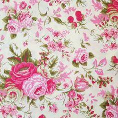 Nursery Fabric, Baby Fabric, Cotton Fabric, Girl Nursery, Nursery Decor, Pink Rose Flower, Cabbage Roses, Childrens Room Decor, Rose Wallpaper