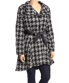 Loving this Gray & Black Houndstooth Coat - Plus on #zulily! #zulilyfinds