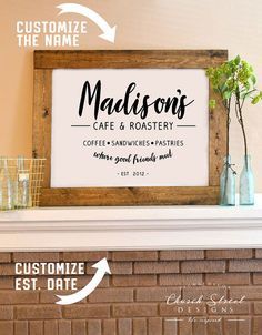 Instant Printable Art - Customize this with your first or last name and Est. date. Print it off for quick, easy and afforable art. Digital Download - Cafe Sign - Kitchen Sign - Printable Poster