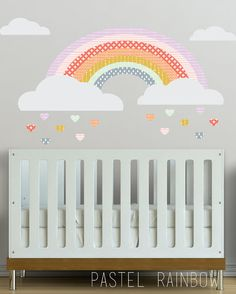 Girls Rainbow - WALL DECAL    Rainbow - 38 x 14.5 1 Cloud- 24x8.5  1 Cloud-19.75 x 6  1 Cloud-10.5 x 3.5  1 Cloud-10.75 x 3.25    14 hearts - 2w x