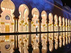 Reflections in the night at Sheikh Zayed Grand Mosque in Abu Dhabi, United Arab Emirates (via NAWFAL JIRJEES).