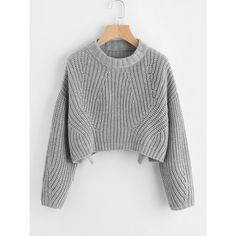 SheIn(sheinside) Vented Hem Chunky Knit Crop Jumper (€20) ❤ liked on Polyvore featuring tops, sweaters, grey, pullover sweater, chunky-knit sweaters, gray cropped sweater, cropped sweaters and crew neck pullover sweater