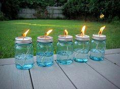 put citronella or insect repelent tiki oil in mason jars