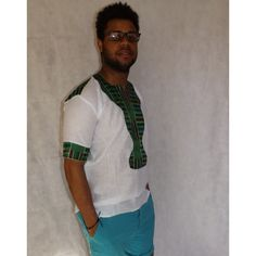 Men's Casual Green Kente Cotton Shirt