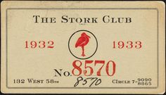 Stork Club Membership (NYC)/1933