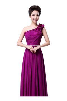 Women Elegant Floral Decor One Shoulder Pleated Front Chiffon Maxi Dress - OASAP.com