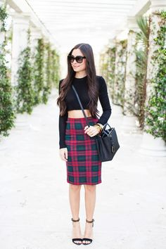 Crop top and pencil skirt.