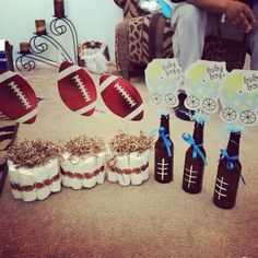 Football them baby shower! Centerpieces!                                                                                                                                                                                 More