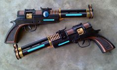 These are the blaster pistols I am going to use for my SWTOR Smuggler costume. It's the last costume I have to finish for SDCC! There's going to be a SW. Steampunk Weapons, Sci Fi Weapons, Weapon Concept Art, Weapons Guns, Fantasy Weapons, Star Wars Guns, Star Wars Rpg, Star Citizen, Nerf Mod