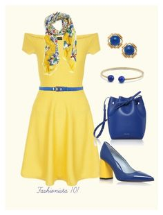 """""""Yellow Off Shoulder Dress with Royal Blue Accessories"""" by amdavis1218 on Polyvore featuring New Look, Dolce&Gabbana, Chiara Ferragni, David Yurman, Cartier, Mansur Gavriel and Dsquared2"""