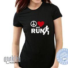 Camiseta Paz Amor and Run Tejidos, Amor, Peace, T Shirts