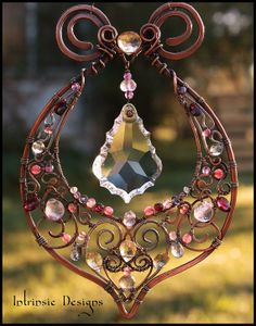 REDUCED for quick sale Gemstone and Wire Suncatcher by CathyHeery